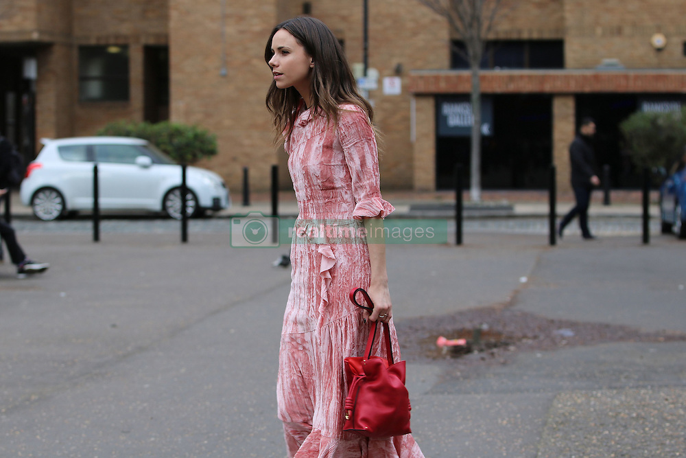 Harper's Bazaar UK junior fashion editor Florrie Thomas arrives at the Topshop Unique Autumn / Winter 2017 London Fashion Week show at Tate Modern, London