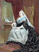 Victoria (1819-1901) queen of England from 1837 and Empress of India from 1876. Formal portrait of the queen at the time of her Golden Jubilee 1887. Oleograph