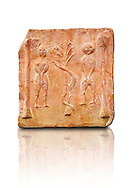 6th-7th Century Eastern Roman Byzantine  Christian Terracotta tiles depicting Adam & Eve with a serpent wrapped around a tree between them - Produced in Byzacena -  present day Tunisia. <br /> <br /> These early Christian terracotta tiles were mass produced thanks to moulds. Their quadrangular, square or rectangular shape as well as the standardised sizes in use in the different regions were determined by their architectonic function and were designed to facilitate their assembly according to various combinations to decorate large flat surfaces of walls or ceilings. <br /> <br /> Byzacena stood out for its use of biblical and hagiographic themes and a richer variety of animals, birds and roses. Some deer and lions were obviously inspired from Zeugitana prototypes attesting to the pre-existence of this province's production with respect to that of Byzacena. The rules governing this art are similar to those that applied to late Roman and Christian art with, in the case of Byzacena, an obvious popular connotation. Its distinguishing features are flatness, a predilection for symmetrical compositions, frontal and lateral representations, the absence of tridimensional attitudes and the naivety of some details (large eyes, pointed chins). Mass production enabled this type of decoration to be widely used at little cost and it played a role as ideograms and for teaching catechism through pictures. Painting, now often faded, enhanced motifs in relief or enriched them with additional details to break their repetitive monotony.<br /> <br /> The Bardo National Museum Tunis, Tunisia.  Against a white background.