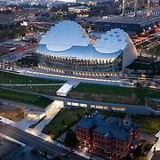 Aerial view of site and landscaping at Kauffman Center For The Performing Arts, downtown Kansas City, Missouri.