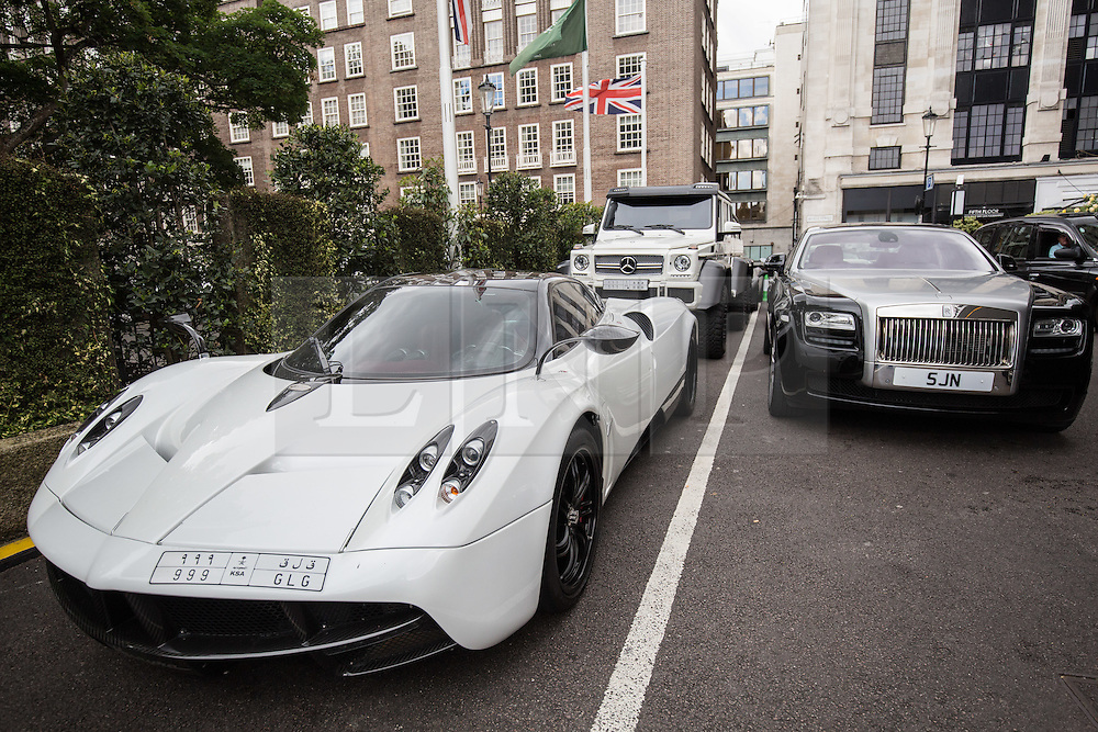 © Licensed to London News Pictures. 27/07/2015. London, UK. A collection of supercars seen outside the Park Tower Knightsbridge Hotel in London. Kensington and Chelsea Borough Council have announced plans that will make it a criminal offence to cause excessive noise unnecessarily, which will aim to stop showboating by drivers revving their engines, or super-fast accelerating. Photo credit : James Gourley/LNP