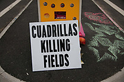 Anti-fracking  activists and protesters outside the gates of Quadrillas fracking site June 31st, New Preston Road, Lancashire, United Kingdom. Quadrillas Killing Fields. The struggle against fracking in Lancashire has been going on for years. The fracking company Quadrilla is finally ready to bring in a drill tower to start drilling and anti-frackinhg activists are waiting in front of the gates to block the equipment getting in. Fracking is a destructive and potential dangerous and highly contentious method of extracting gas and this site will be the first of many in the United Kingdom reaching miles out under ground.