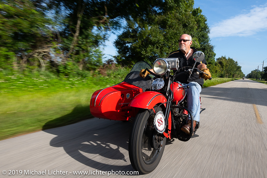 Erik Dunk, known to everyone simply as Dunk, with his 1937 Harley-Davidson EL during the Cross Country Chase motorcycle endurance run from Sault Sainte Marie, MI to Key West, FL. (for vintage bikes from 1930-1948). Stage-9 covered 259 miles from Lakeland, FL to Miami, FL USA. Saturday, September 14, 2019. Photography ©2019 Michael Lichter.