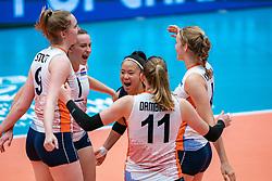 Britte Stuut of Netherlands, Kim Klein Lankhorst of Netherlands, Romy Brokking of Netherlands celebrate during United States - Netherlands, FIVB U20 Women's World Championship on July 15, 2021 in Rotterdam
