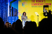 Speaker of the House, Nancy Pelosi (D-CA), speaks at The Women's Leadership Forum on Thursday, Oct. 17, 2019. (photo by Pete Marovich for The New York Times)