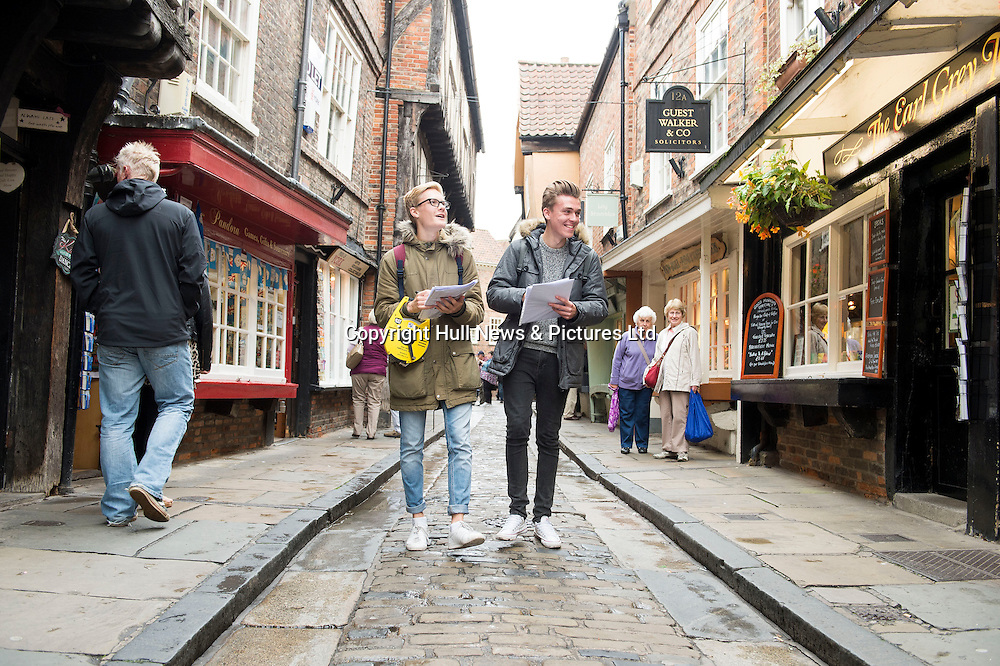7 October 2016: Tollbar MAT Sixth Form College students visiting to York as part of thier Geography A Level studies.<br /> (l-r) Joe Tees and Luke Whittaker taking notes in The Shambles.<br /> Picture: Sean Spencer/Hull News & Pictures Ltd<br /> 01482 210267/07976 433960<br /> www.hullnews.co.uk         sean@hullnews.co.uk