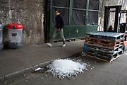 Ice dumped on the street at Borough Market, London, UK.