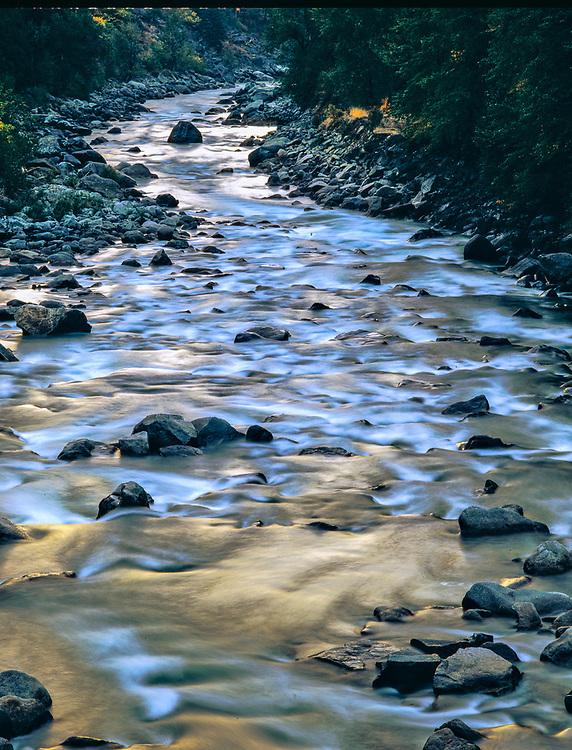Wenatchee River, morning light, spring, near Leavenworth, Washington, USA