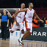Galatasaray Cafe Crown's Preston SHUMPERT (L) and Joshua Ian SHIPP (R) celebrate victory during their ULEB Eurocup Quarterfinals last 16 group K game 3 basketball match Galatasaray between CEZ Nymburk at the Abdi Ipekci Arena in Istanbul at Turkey on Tuesday, February, 01, 2011. Photo by TURKPIX
