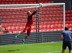 LIVERPOOL, ENGLAND - Monday, May 21, 2018: Liverpool's goalkeeper Loris Karius during a training session at Anfield ahead of the UEFA Champions League Final match between Real Madrid CF and Liverpool FC. (Pic by Paul Greenwood/Propaganda)
