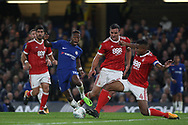 Charly Musonda of Chelsea © is tackled by Michael Mancienne of Nottingham Forest (R) . Carabao Cup 3rd round match, Chelsea v Nottingham Forest at Stamford Bridge in London on Wednesday 20th September 2017.<br /> pic by Steffan Bowen, Andrew Orchard sports photography.