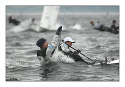 470 Class European Championships Largs - Day 1.Racing in grey and variable conditions on the Clyde...SLO64, Tina MRAK, Teja CERNE, Jk Pirat Portoroz