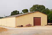 The shed that has presumably given its name to the estate. Domaine de la Grange des Peres Vin de Pays de l'Herault. In Aniane. Languedoc. The winery building. France. Europe.