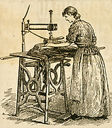 Gas-heated ironing machine. Engraving, 1887.