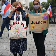 2021-09-10  Downing Street, London, UK. Protest against Chilean Sebastian Piñera meeting Boris Johnson vigil to mark 48 years since 11 Sep 1973 coup assassination Salvador Allende in Chile. Armed with British weapons, Piñera has overseen a brutal crackdown on protests in Chile with 30 killed, hundreds losing their eyes, and thousands detained. Also alleges US September 11, 1973, Salvador Allende assassination, president of Chile,