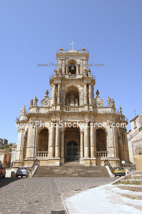 The Chiesa Madre, Mother Church, Palazzolo Acreide, on the Monti Iblei, Province of Syracuse, Sicily, Italy, July 2006, The first document attesting its existence dates from 1215, when the church was dedicated to St. Nicholas. It was largely rebuilt and redecorated after the earthquake of 1693, with a Neo-classicist fa?ade.