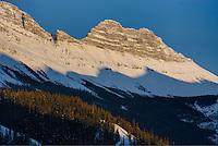 Winter sunset over the Canadian Rockies, Jasper National Park, Alberta Canada