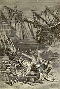 From these cases escaped ingots of gold and silver, cascades of piastres and<br /> precious stones From the Book Twenty thousand leagues under the seas, or, The marvelous and exciting adventures of Pierre Aronnax, Conseil his servant, and Ned Land, a Canadian harpooner by Verne, Jules, 1828-1905 Published in Boston by J.R. Osgood in 1875