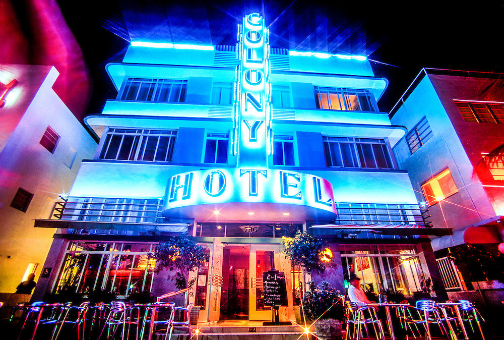 The iconic Colony Hotel on South Beach's neon-lit Ocean Drive was designed by architect Henry Hohauser in 1935 and remains a classic example of the historic neighborhood's signature Tropical Deco style.<br /> .