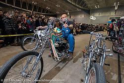 "Aki Sakamoto on his 1968 HD XLCH Ironhead ""KAU'I"" for the Grand Entry to the Mooneyes Yokohama Hot Rod & Custom Show. Yokohama, Japan. December 6, 2015.  Photography ©2015 Michael Lichter."