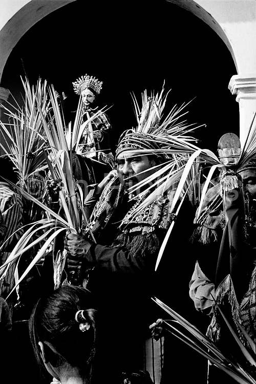 Holy Week or Semana Santa, in Santiago Atitlan, Guatemala, is a mix of Catholicism blended with traditional Mayan culture. Semana Santa is the time where god sky (Jesucristo nahual) has been sacrificed and his twin brother god earth, the Rilaj Mam, or Maximon, takes over while Jesus awaits ressurection. Palm Sunday celebrations during Holy Week. Guatemala