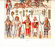 Ancient Gaulish fashion and accessories from Geschichte des kostüms in chronologischer entwicklung (History of the costume in chronological development) by Racinet, A. (Auguste), 1825-1893. and Rosenberg, Adolf, 1850-1906, Volume 1 printed in Berlin in 1888