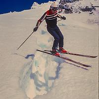 Steven Korsak jumps a crasse at Timberline ski area on Mount Hood in Oregon.