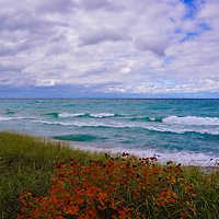 """""""Color on Lake Superior"""" <br /> <br /> I hope you enjoy the amazing colors of the beautiful blues and greens of the waters of Lake Superior. Feel the movement of the clouds above, and relish in the contrast of fall color against the greens of the sand grass on a windy autumn day!"""