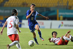 PALEMBANG, Aug. 19, 2018  Yu Hsiuchin (C) of Chinese Taipei competes during the women's football Group A match between Chinese Taipei and Indonesia at the 18th Asian Games 2018 in Palembang, Indonesia, Aug. 19, 2018. (Credit Image: © Veri Sanovri/Xinhua via ZUMA Wire)