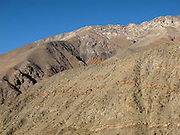 Red seams in the rocks above the Elqui Valley, in Chile's Coquimbo Region