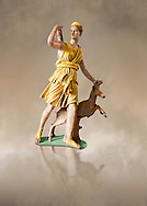 """Painted colour verion of Artemis and a deer, known as """"Diana of Versailles"""", a 1st - 2nd century Roman statue in marble probably from Italy.  Artemis, Diana to the Romans, is goddess of the hunt, is accompanied by a deer.  The Diana of Versailles, similar to other Roman replicas was found in Libya or Turkey and was copied from a lost Greek bronze original attributed to Leochares, c. 325 BC .  First the statue was at Fontainbleau then the Louvre ancient hall and finally it went to Versailles. From the collection of Louis XIV, Pope Paul IV and Henry II (1556) . Inv MR 152 ( or Ma 589), Louvre Museum Paris .<br /> <br /> If you prefer to buy from our ALAMY STOCK LIBRARY page at https://www.alamy.com/portfolio/paul-williams-funkystock/greco-roman-sculptures.html- Type -    Louvre    - into LOWER SEARCH WITHIN GALLERY box - Refine search by adding a subject, place, background colour,etc.<br /> <br /> Visit our CLASSICAL WORLD HISTORIC SITES PHOTO COLLECTIONS for more photos to download or buy as wall art prints https://funkystock.photoshelter.com/gallery-collection/The-Romans-Art-Artefacts-Antiquities-Historic-Sites-Pictures-Images/C0000r2uLJJo9_s0c"""