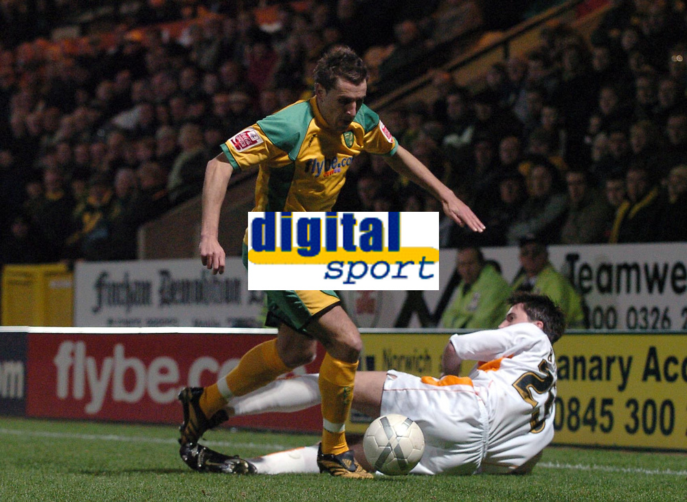 Photo: Ashley Pickering.<br /> Norwich City v Blackpool. The FA Cup. 13/02/2007.<br /> Darren Huckerby (yellow) of Norwich gets the better of Shaun Barker of Blackpool
