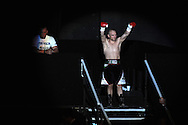lightweight bout.<br /> Gavin Rees of Wales enters the arena for his fight v Gary Buckland of Wales. 'The second coming'  boxing event at the Motorpoint Arena in Cardiff, South Wales on Sat 17th May 2014. <br /> pic by Andrew Orchard, Andrew Orchard sports photography.