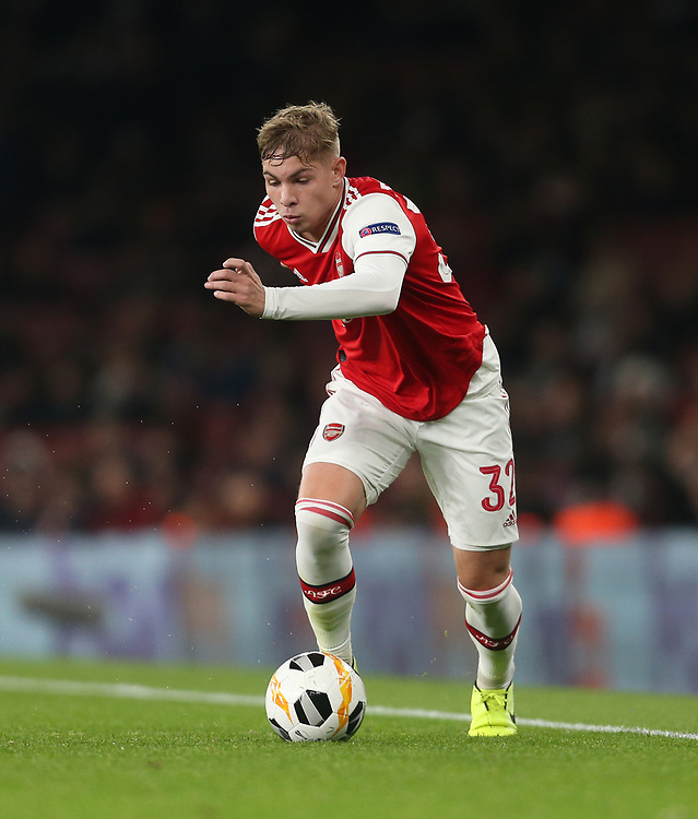 Arsenal's Emile Smith Rowe<br /> <br /> Photographer Rob Newell/CameraSport<br /> <br /> UEFA Europa League group F - Arsenal v Vitoria Guimaraes - Thursday 24th October 2019  - Emirates Stadium - London<br />  <br /> World Copyright © 2018 CameraSport. All rights reserved. 43 Linden Ave. Countesthorpe. Leicester. England. LE8 5PG - Tel: +44 (0) 116 277 4147 - admin@camerasport.com - www.camerasport.com