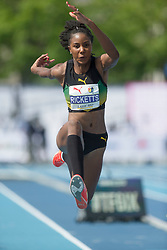 August 12, 2018 - Toronto, ON, U.S. - TORONTO, ON - AUGUST 12: Shanieka Ricketts (Jamaica), gold in the triple jump at the 2018 North America, Central America, and Caribbean Athletics Association (NACAC) Track and Field Championships on August 12, 2018 held at Varsity Stadium, Toronto, Canada. (Photo by Sean Burges / Icon Sportswire) (Credit Image: © Sean Burges/Icon SMI via ZUMA Press)