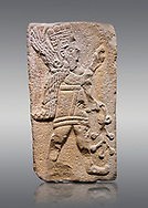 Aslantepe Hittite relief sculpted orthostat stone panel. Limestone, Aslantepe Malatya, 1200-700 B.C. Anatolian Civilisations Museum, Ankara, Turkey.<br /> <br /> Winged protective god holds a branch with fruits. in his left hand, and a fruit in his right hand.<br /> <br /> Against a gray background. .<br /> <br /> If you prefer to buy from our ALAMY STOCK LIBRARY page at https://www.alamy.com/portfolio/paul-williams-funkystock/hittite-art-antiquities.html . Type - Aslantepe - in LOWER SEARCH WITHIN GALLERY box. Refine search by adding background colour, place, museum etc.<br /> <br /> Visit our HITTITE PHOTO COLLECTIONS for more photos to download or buy as wall art prints https://funkystock.photoshelter.com/gallery-collection/The-Hittites-Art-Artefacts-Antiquities-Historic-Sites-Pictures-Images-of/C0000NUBSMhSc3Oo