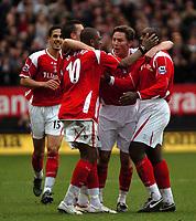 Photo: Tony Oudot.<br />Charlton Athletic v West Ham United. The Barclays Premiership. 24/02/2007.<br />Darren Bent of Charlton celebrates his goal with teammates