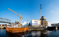 View of new Berliner Schloss ( Berlin Palace) under construction on Museum Island, Museumsinsel, in Mitte, berlin, Germany