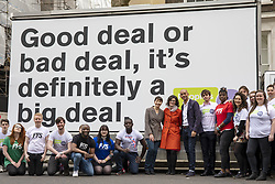 April 15, 2018 - London, London, UK - London, UK. Green Party Co-Leader CAROLINE LUCAS (8-L), Liberal Democrat LAYLA MORAN (9-L) and Labour MP CHUKA UMUNNA (10-L) join activists in Smith Square for a photocall with an ad van from the PeopleÃ•s Vote campaign, which is calling for a public vote on the final Brexit deal. (Credit Image: © Rob Pinney/London News Pictures via ZUMA Wire)