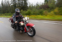 Michael Bruso riding his 1939 Harley-Davidson Knucklehead in the Cross Country Chase motorcycle endurance run from Sault Sainte Marie, MI to Key West, FL. (for vintage bikes from 1930-1948). Stage 1 from Sault Sainte Marie to Ludington, MI USA. Friday, September 6, 2019. Photography ©2019 Michael Lichter.