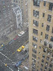 snow falling on West End Avenue in New York City