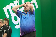 Jonny Clayton after his semi final win over Rob Cross during the PDC Darts Players Championship at  at Butlins Minehead, Minehead, United Kingdom on 26 November 2017. Photo by Shane Healey.