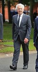 Retired police officer Alan Foster arrives at Warrington Magistrates' Court where he faces charges following an investigation into the Hillsborough disaster and its aftermath.