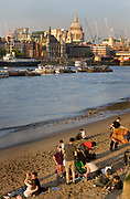 Families picnicing on the sandy foreshore of the Thames with the city and Saint Paul's cathedral in the background.