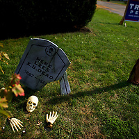 MECHANICSBURG, PA - November 2, 2016.  Halloween decorations share a lawn with a Donald Trump campaign sign in Mechanicsburg, PA November 2, 2016.  The Keystone State's 20 electoral votes are the 5th most nationwide.  CREDIT: Mark Makela for The New York Times