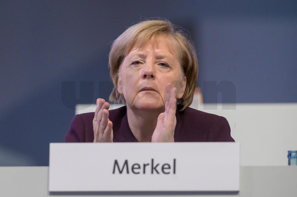 22 NOV 2019, LEIPZIG/GERMANY:<br /> Angela Merkel, CDU, Bundeskanzlerin, applaudiert waehrend der Rede von AKK, CDU Bundesparteitag, CCL Leipzig<br /> IMAGE: 20191122-01-097<br /> KEYWORDS: Parteitag, party congress