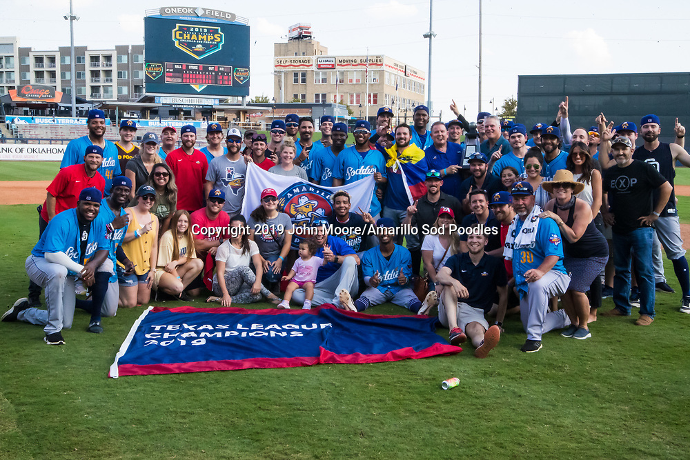 The Amarillo Sod Poodles pose with the trophy after defeating the Tulsa Drillers during the Texas League Championship on Sunday, Sept. 15, 2019, at OneOK Field in Tulsa, Oklahoma. [Photo by John Moore/Amarillo Sod Poodles]