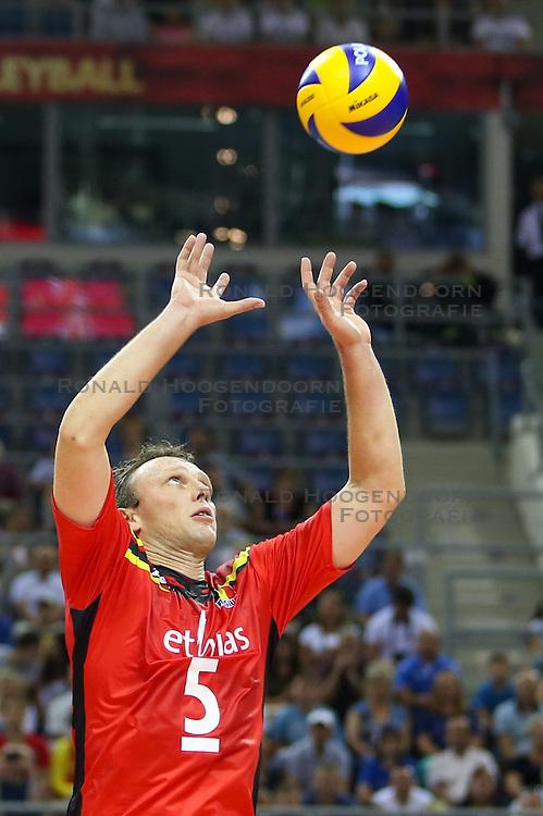 07.09.2014, Krakow Arena, Krakau, POL, FIVB WM, Frankreich vs Belgien, Gruppe D, im Bild Frank Depestele (BEL) // during the FIVB Volleyball Men's World Championships Pool D Match beween France and Belgium at the Krakow Arena in Krakau, Poland on 2014/09/07. <br /> <br /> ***NETHERLANDS ONLY***