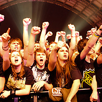 Audience rocking out to Machine Head performing live at Manchester Central, Manchester, 2011-11-06