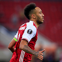 PIRAEUS, GREECE - FEBRUARY 25: Pierre-Emerick Aubameyang of Arsenal FC celebrates the third goal of his team during the UEFA Europa League Round of 32 match between Arsenal FC and SL Benfica at Karaiskakis Stadium on February 25, 2021 in Piraeus, Greece. (Photo by MB Media)